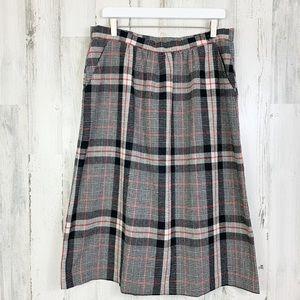 Vintage Grunge Black Tartan Plaid Midi Skirt